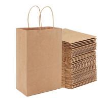 Пакет бумажный 330х150х420 мм с ручками крафт (200 шт.)