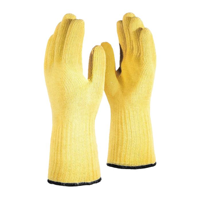 две желтых перчатки термостойкие Manipula Specialist Арамакс кевларовые